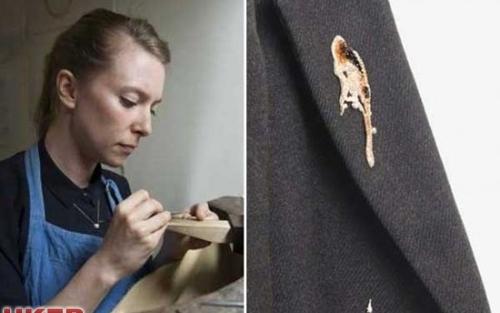 英国艺术家设计豪华胸针 鸽子粪系灵感来源