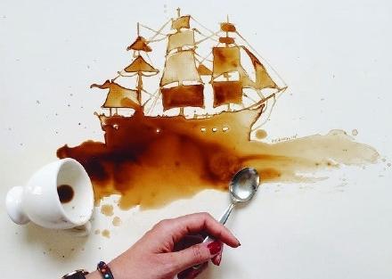 Giulia Bernardelli咖啡绘画艺术作品(图)